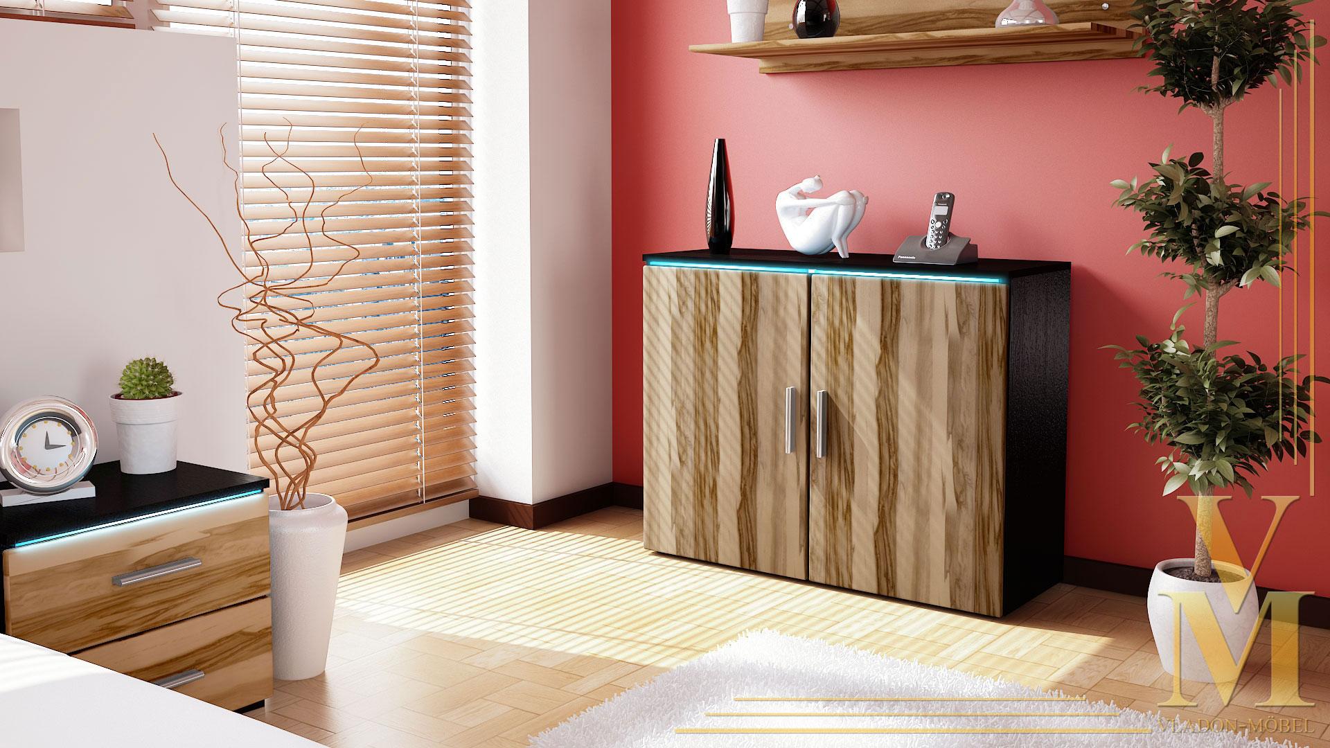 moderne kommode sideboard anrichte faro v3 in schwarz. Black Bedroom Furniture Sets. Home Design Ideas