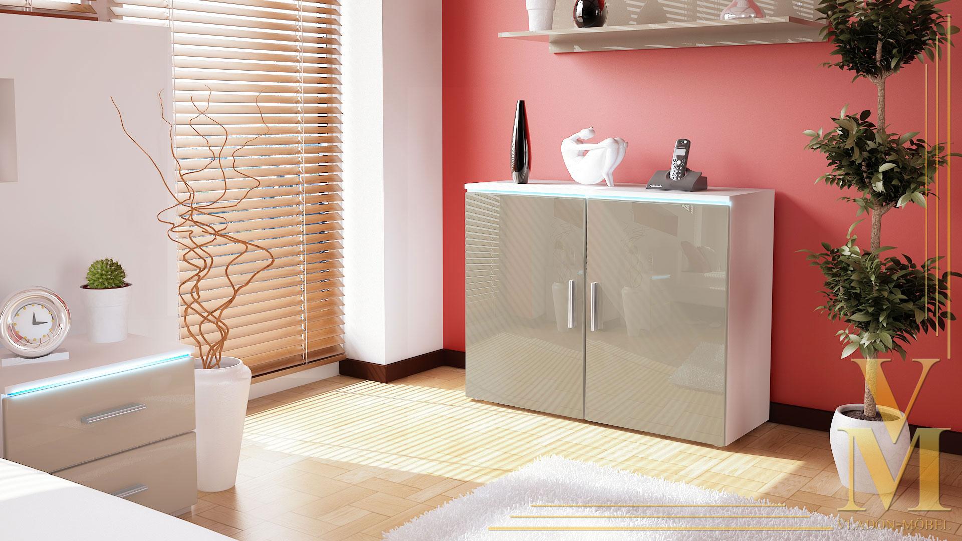 moderne kommode sideboard anrichte schrank faro v3 wei hochglanz naturt ne ebay. Black Bedroom Furniture Sets. Home Design Ideas
