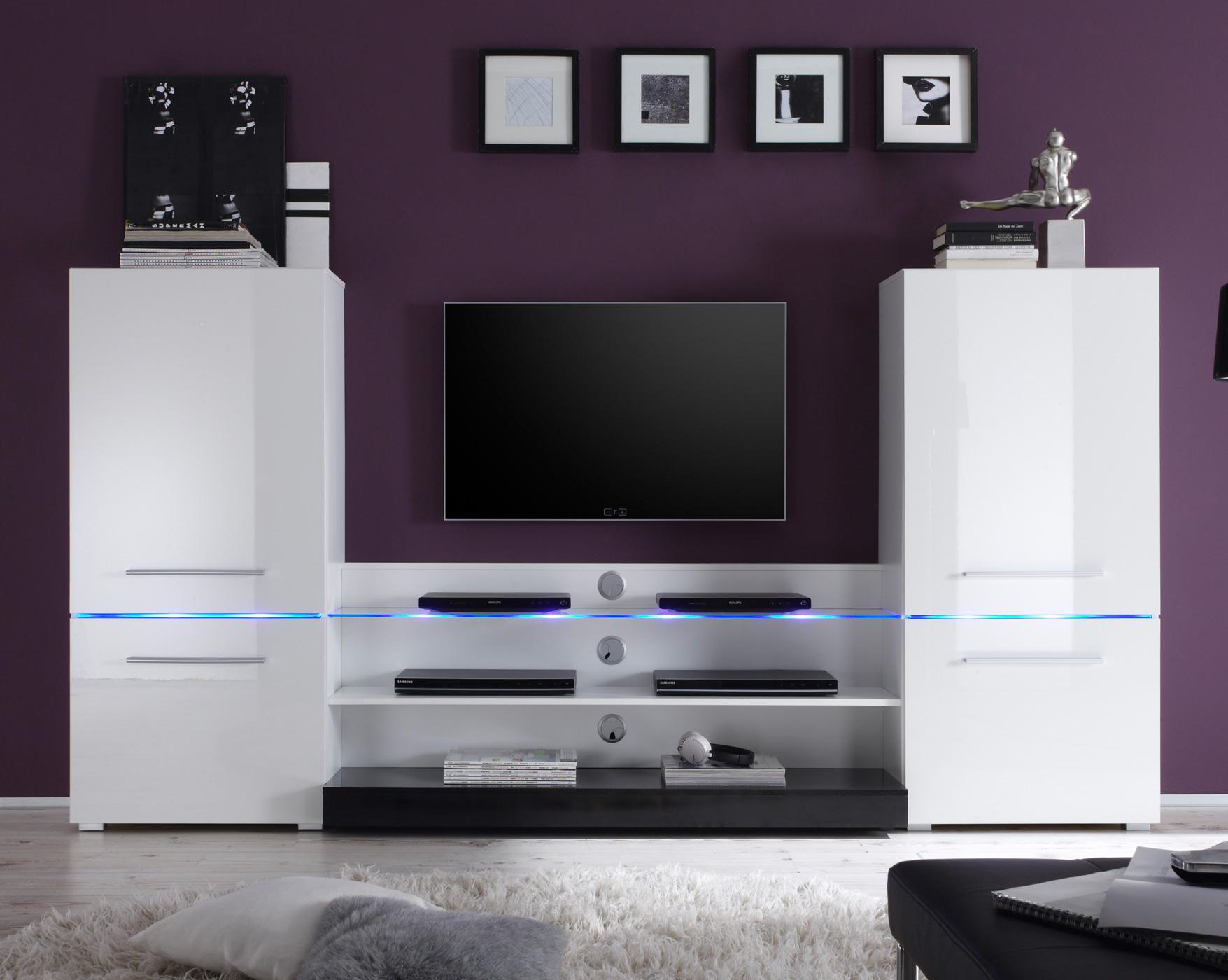 moderne anbauwand wohnwand schrankwand flash in wei hochglanz led beleuchtung ebay. Black Bedroom Furniture Sets. Home Design Ideas