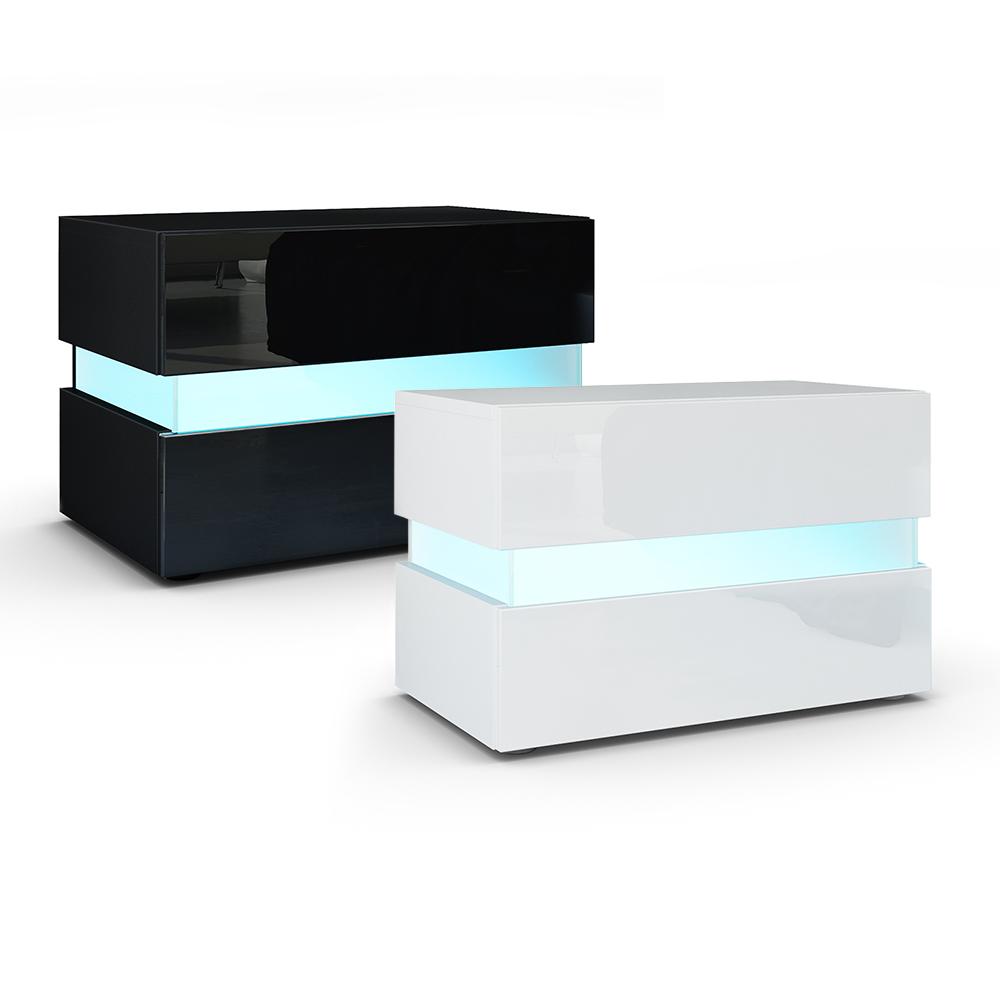 table de chevet de nuit salle coucher flow en blanc ou. Black Bedroom Furniture Sets. Home Design Ideas