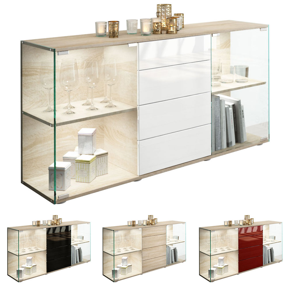 sideboard kommode vitrine anrichte f hr eiche s gerau hochglanz naturt ne ebay. Black Bedroom Furniture Sets. Home Design Ideas