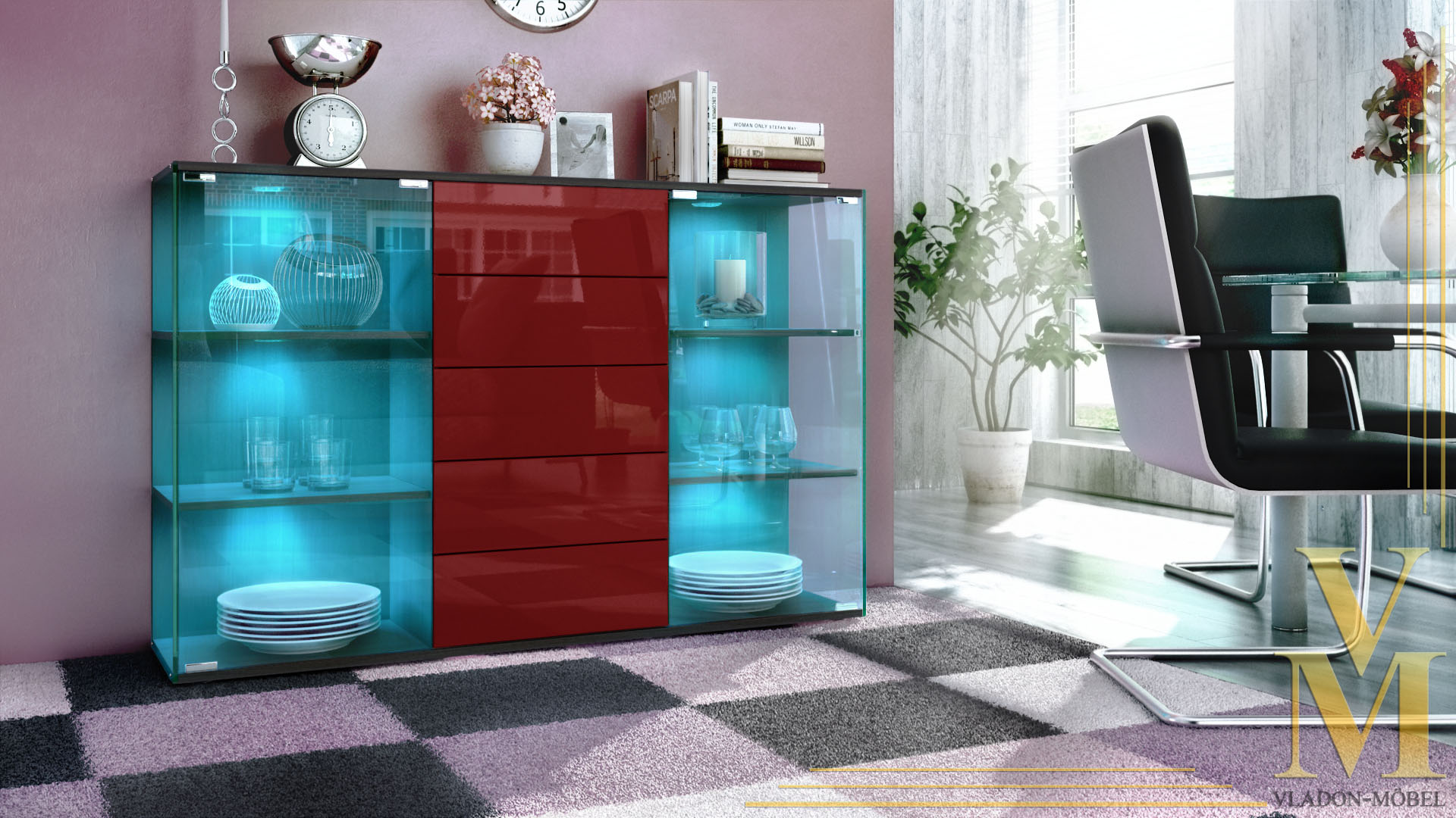 highboard sideboard schrank kommode vitrine f hr schwarz. Black Bedroom Furniture Sets. Home Design Ideas