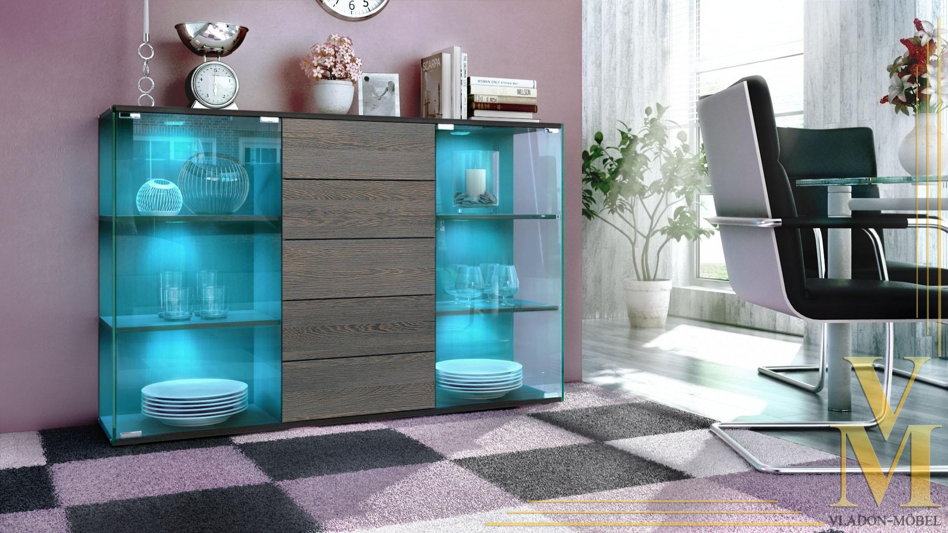 highboard sideboard schrank kommode vitrine f hr schwarz. Black Bedroom Furniture Sets. Home Design Ideas