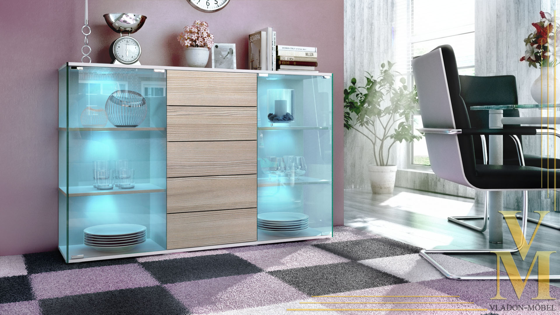 highboard sideboard schrank kommode vitrine f hr wei hochglanz naturt ne ebay. Black Bedroom Furniture Sets. Home Design Ideas