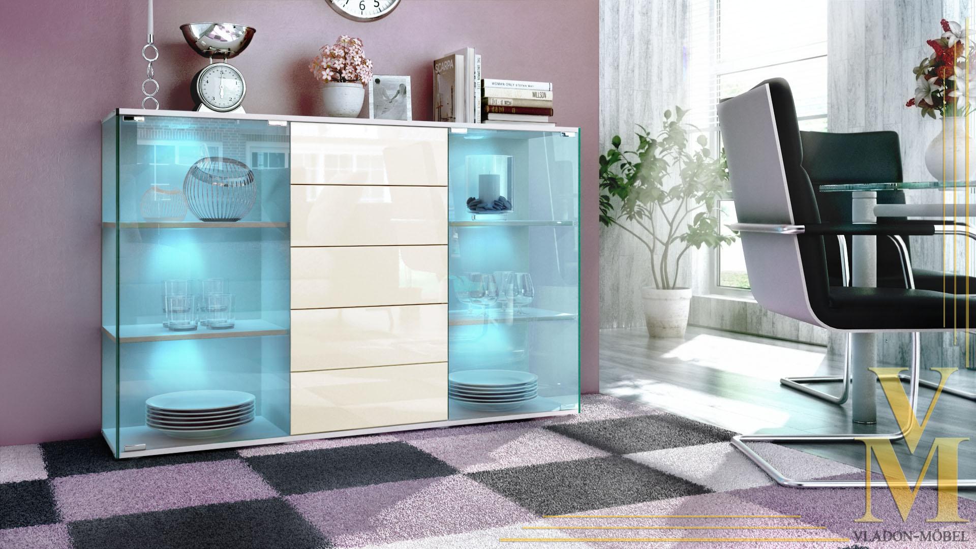 highboard sideboard schrank kommode vitrine f hr wei hochglanz naturt ne ebay. Black Bedroom Furniture Sets. Home Design Ideas