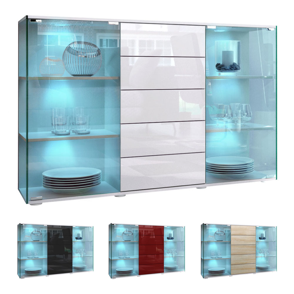 highboard sideboard schrank kommode vitrine f hr wei. Black Bedroom Furniture Sets. Home Design Ideas