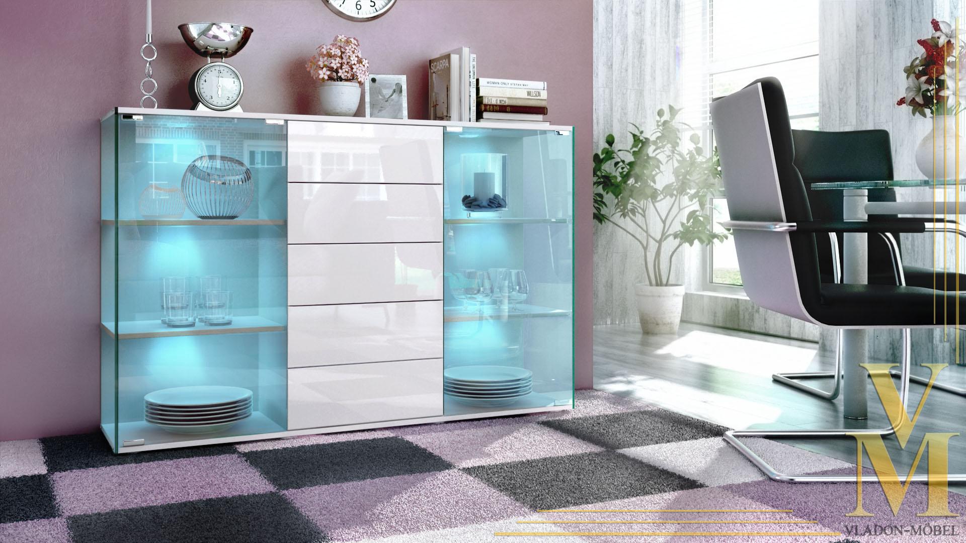 Bemerkenswert Badschrank Hochglanz Foto Von Affordable Sideboard Wei Schwarz Kommode Lack Wei