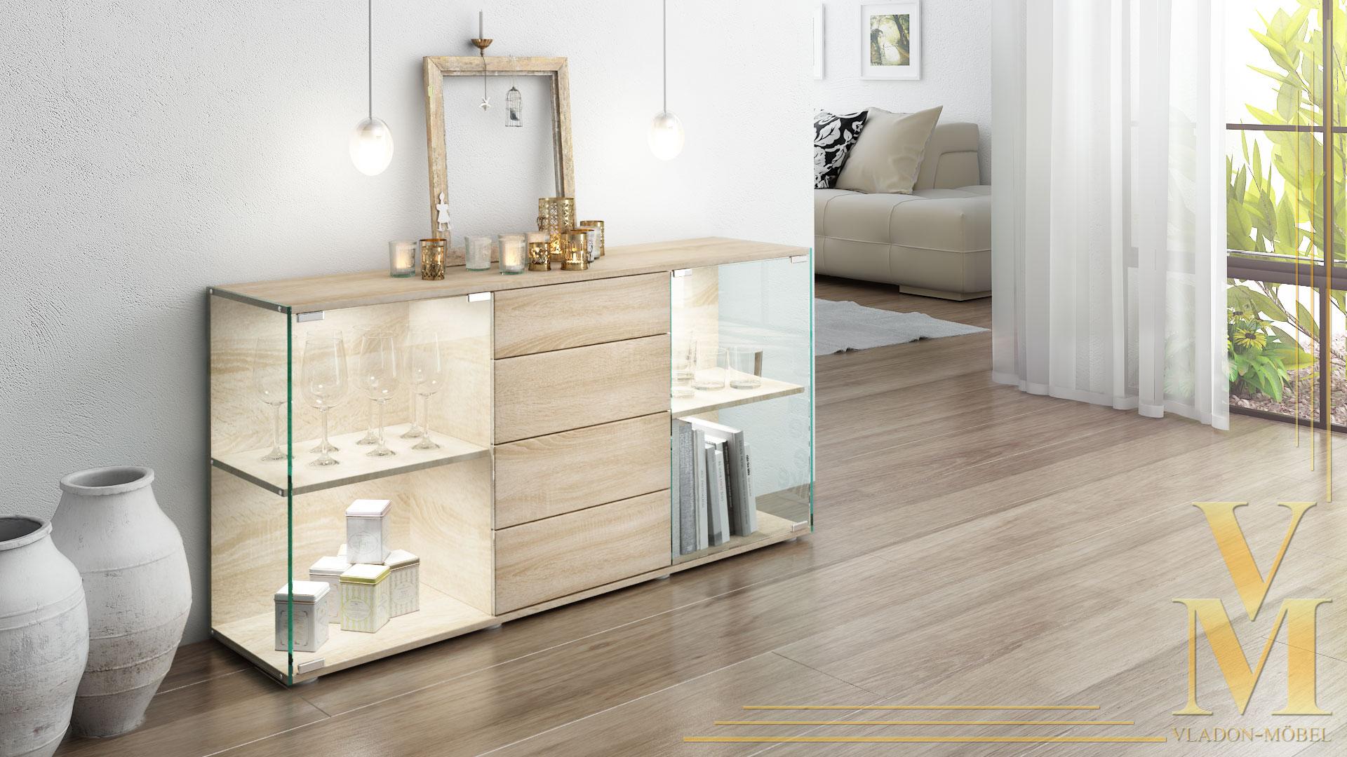 sideboard kommode vitrine anrichte f hr eiche s gerau. Black Bedroom Furniture Sets. Home Design Ideas