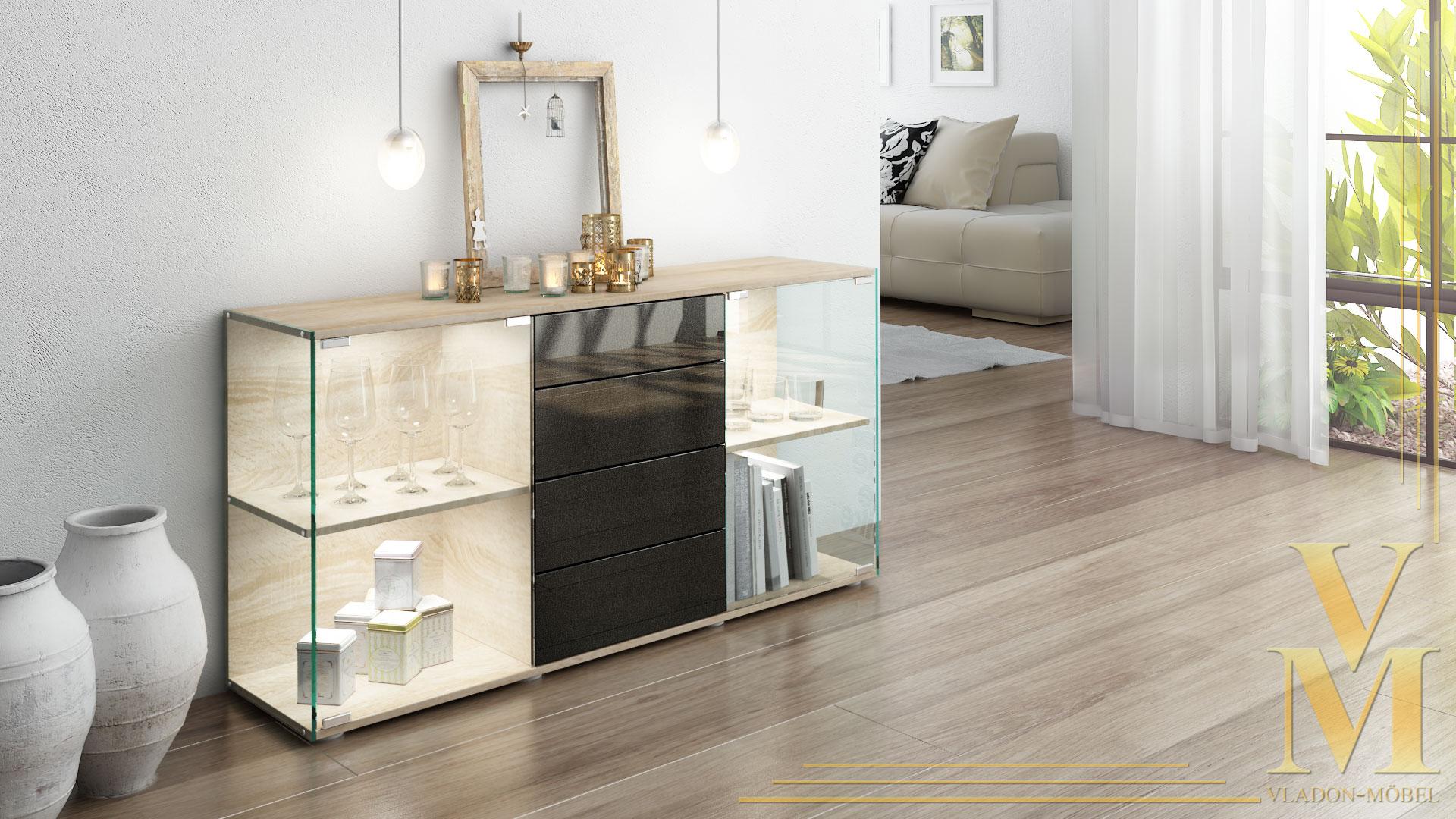 sideboard kommode vitrine anrichte f hr eiche s gerau hochglanz naturt ne ebay. Black Bedroom Furniture Sets. Home Design Ideas