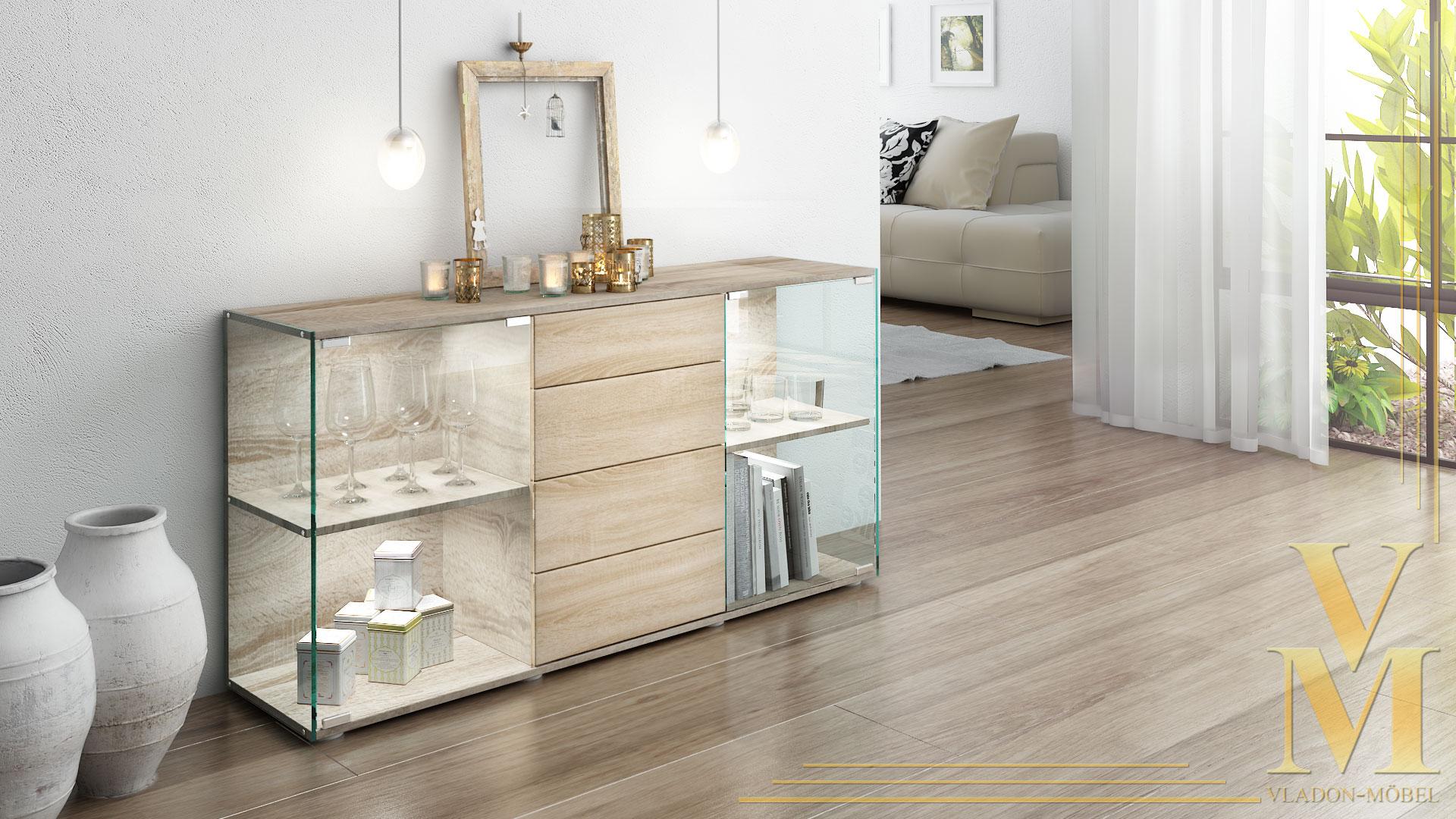 sideboard kommode vitrine anrichte f hr eiche tr ffel. Black Bedroom Furniture Sets. Home Design Ideas