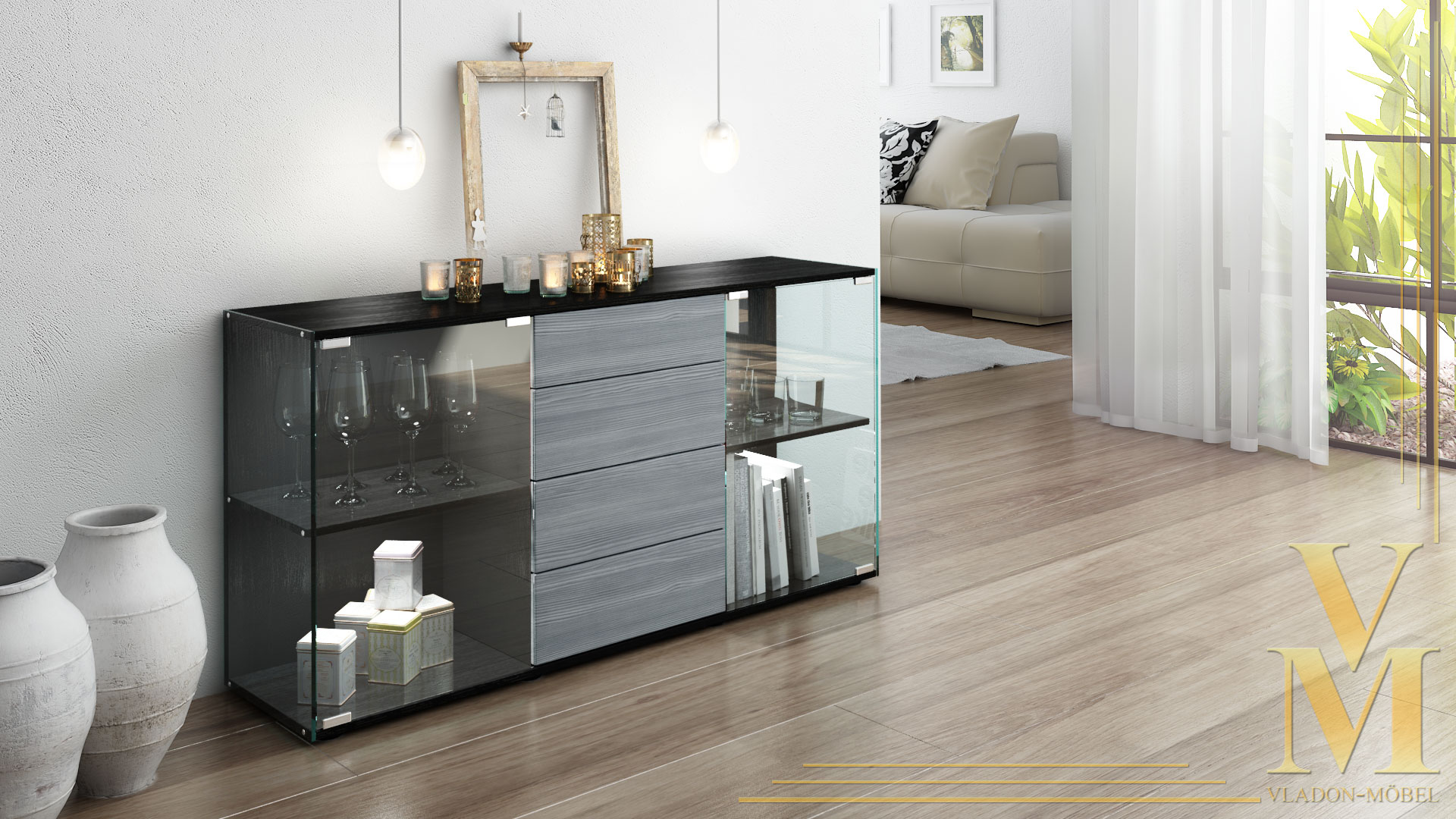 sideboard kommode tv board vitrine anrichte f hr schwarz hochglanz naturt ne ebay. Black Bedroom Furniture Sets. Home Design Ideas