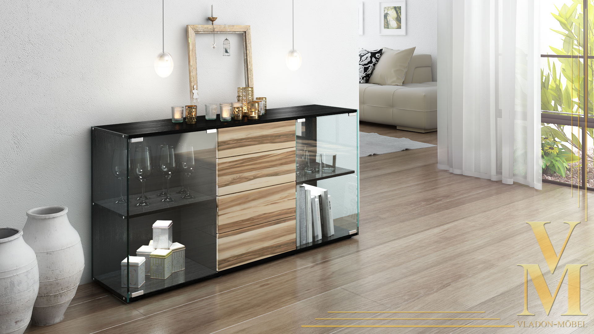 sideboard baltimore schwarz interessante. Black Bedroom Furniture Sets. Home Design Ideas