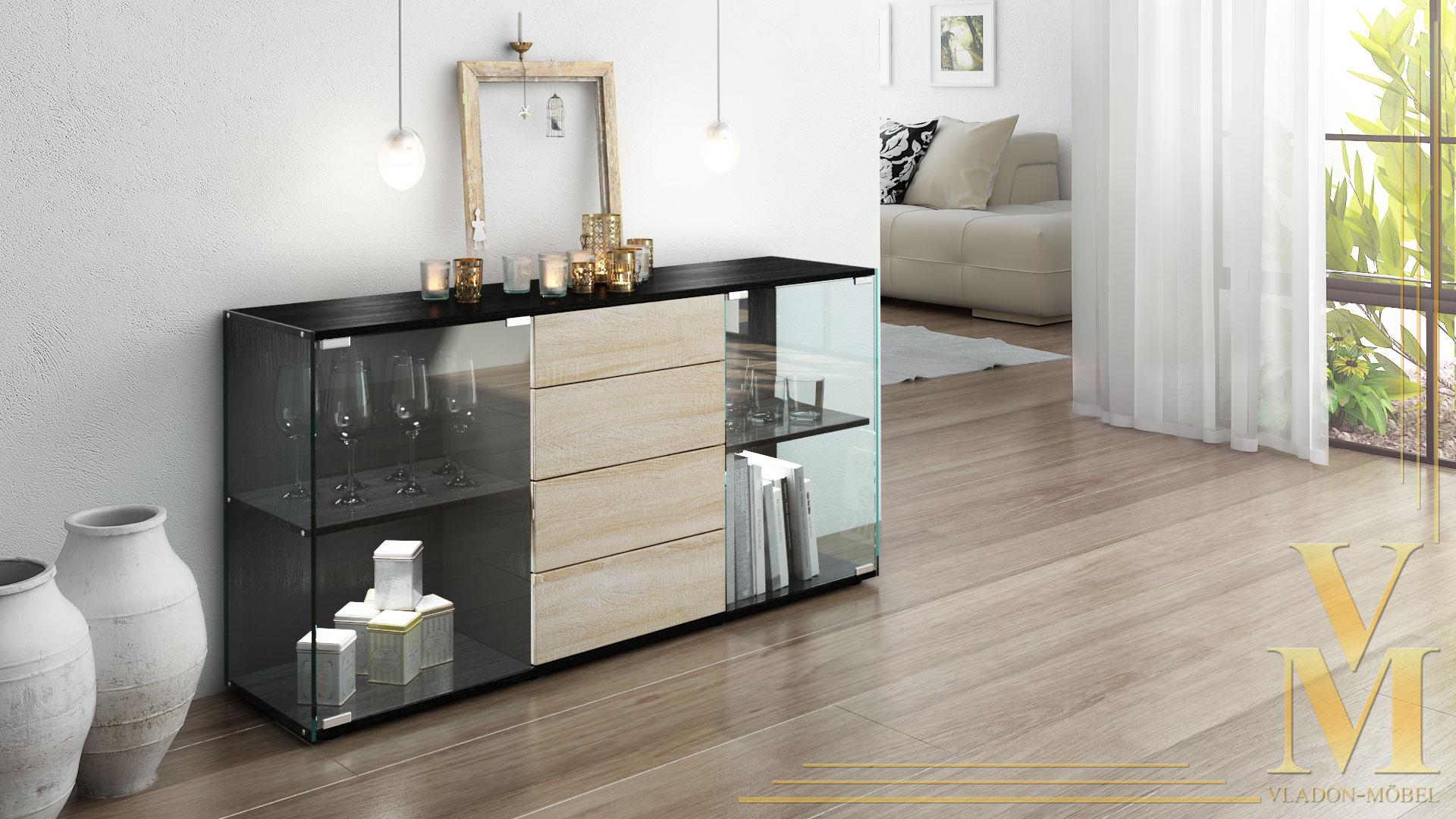 sideboard kommode tv board vitrine anrichte f hr schwarz. Black Bedroom Furniture Sets. Home Design Ideas