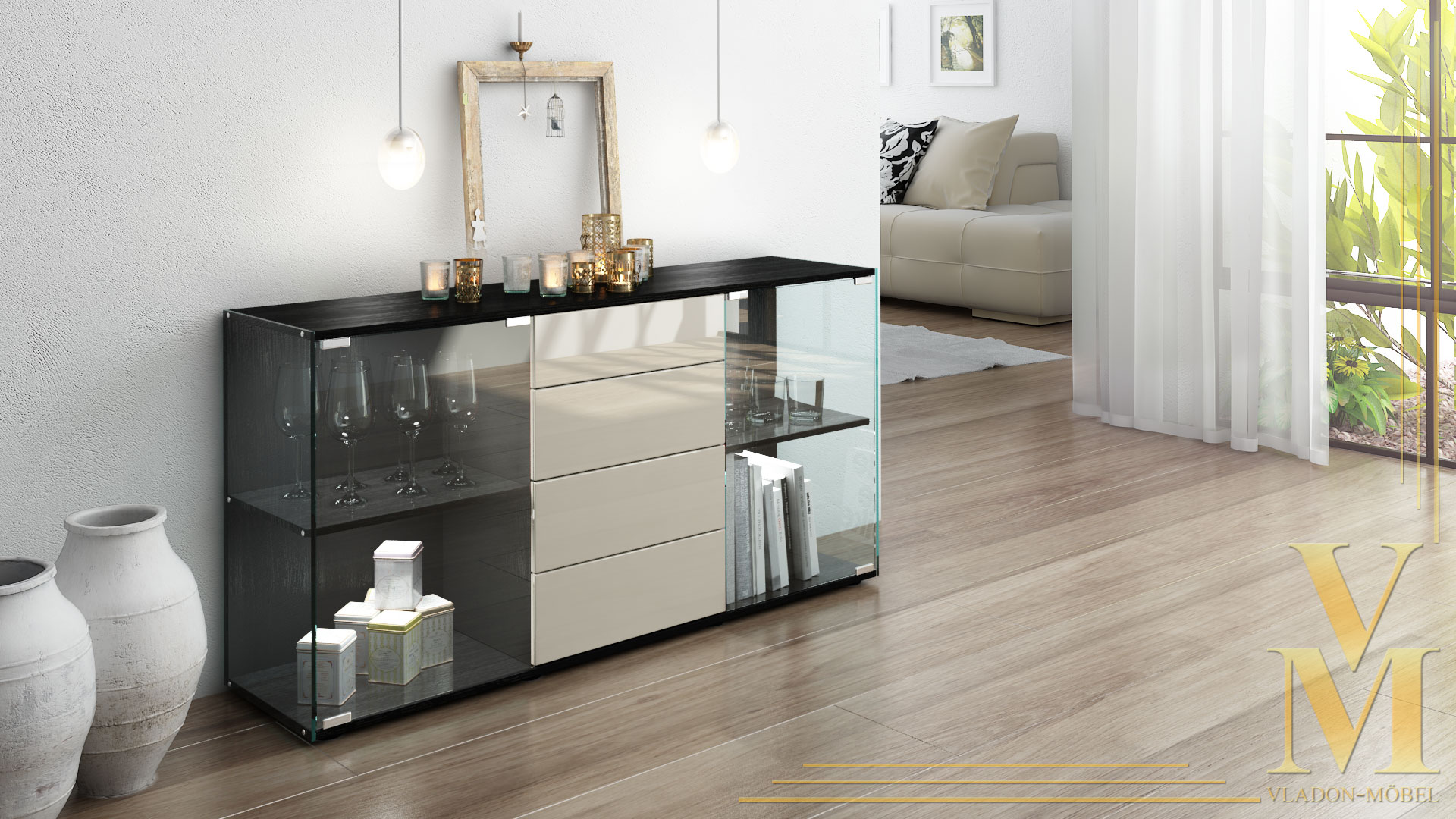 sideboard kommode tv board vitrine anrichte f hr schwarz. Black Bedroom Furniture Sets. Home Design Ideas