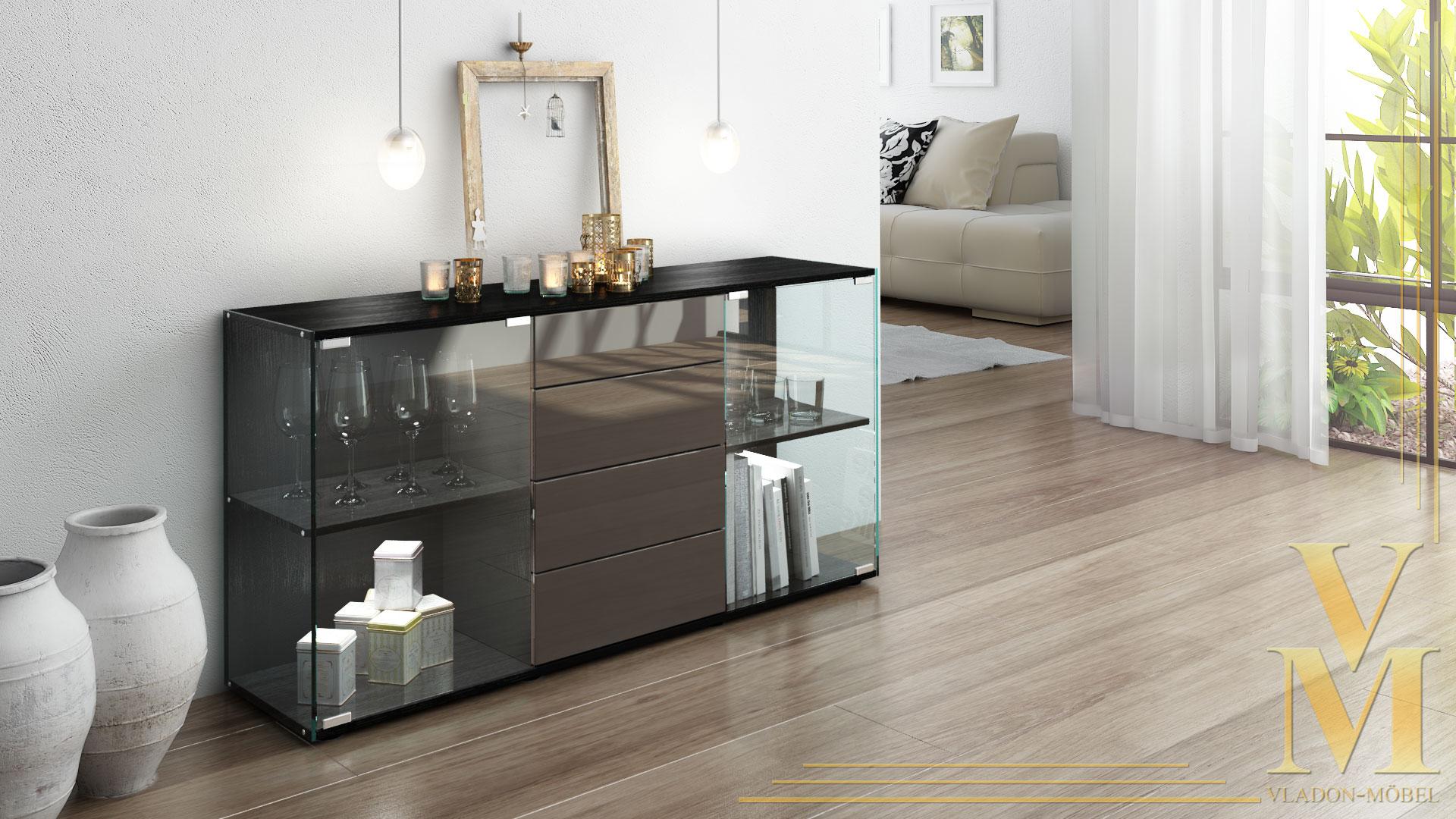 sideboard kommode tv board vitrine anrichte f hr schwarz hochglanz naturt ne ebay. Black Bedroom Furniture Sets. Home Design Ideas