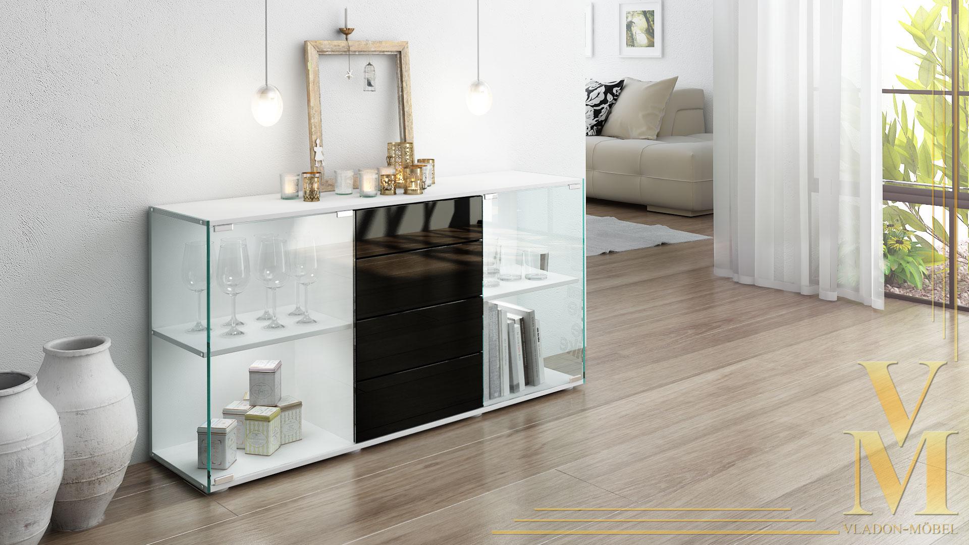 sideboard kommode tv board vitrine anrichte f hr wei hochglanz naturt ne ebay. Black Bedroom Furniture Sets. Home Design Ideas