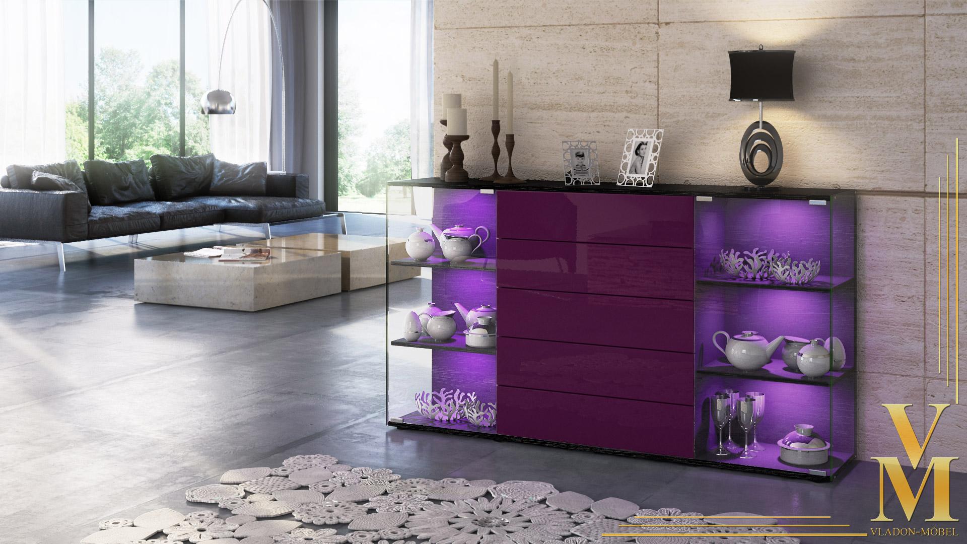 highboard sideboard kommode vitrine f hr v2 schwarz. Black Bedroom Furniture Sets. Home Design Ideas