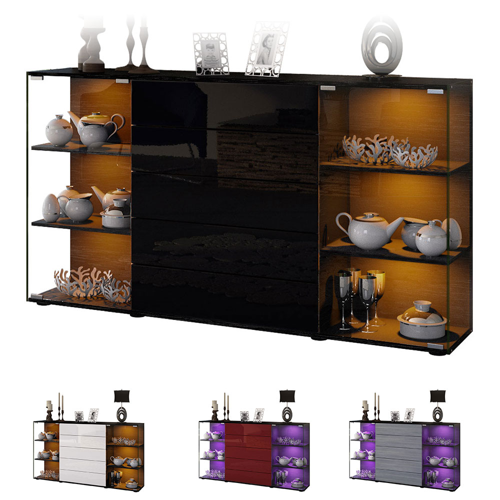 highboard sideboard kommode vitrine f hr v2 schwarz hochglanz naturt ne ebay. Black Bedroom Furniture Sets. Home Design Ideas
