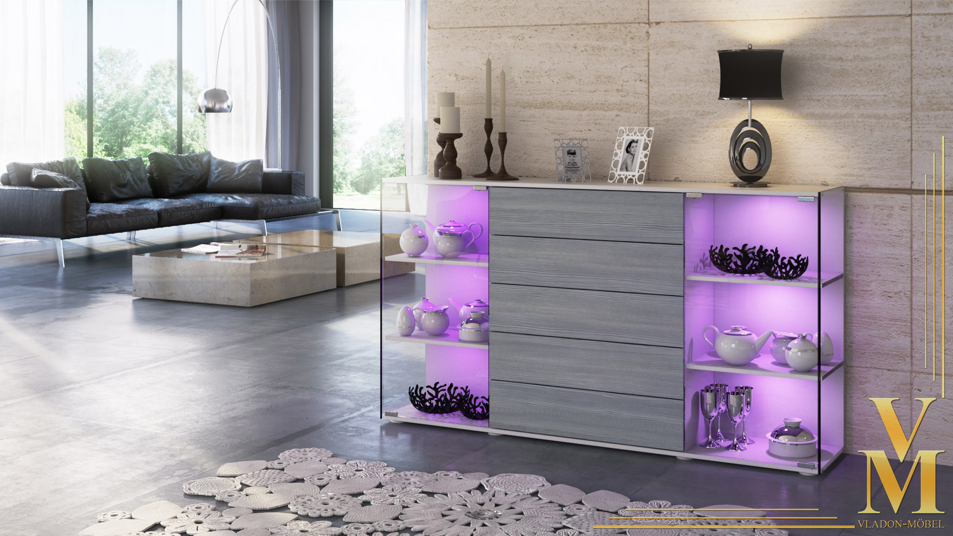 highboard sideboard schrank kommode vitrine f hr v2 wei. Black Bedroom Furniture Sets. Home Design Ideas