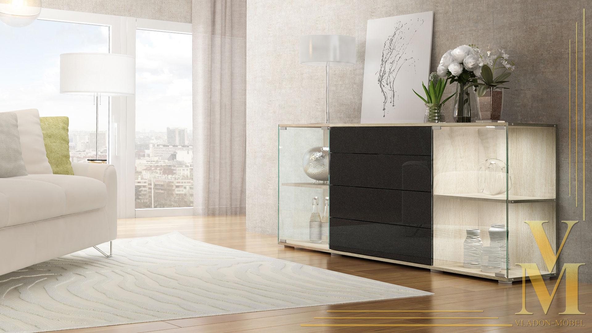 sideboard kommode vitrine anrichte f hr v2 eiche s gerau hochglanz naturt ne ebay. Black Bedroom Furniture Sets. Home Design Ideas