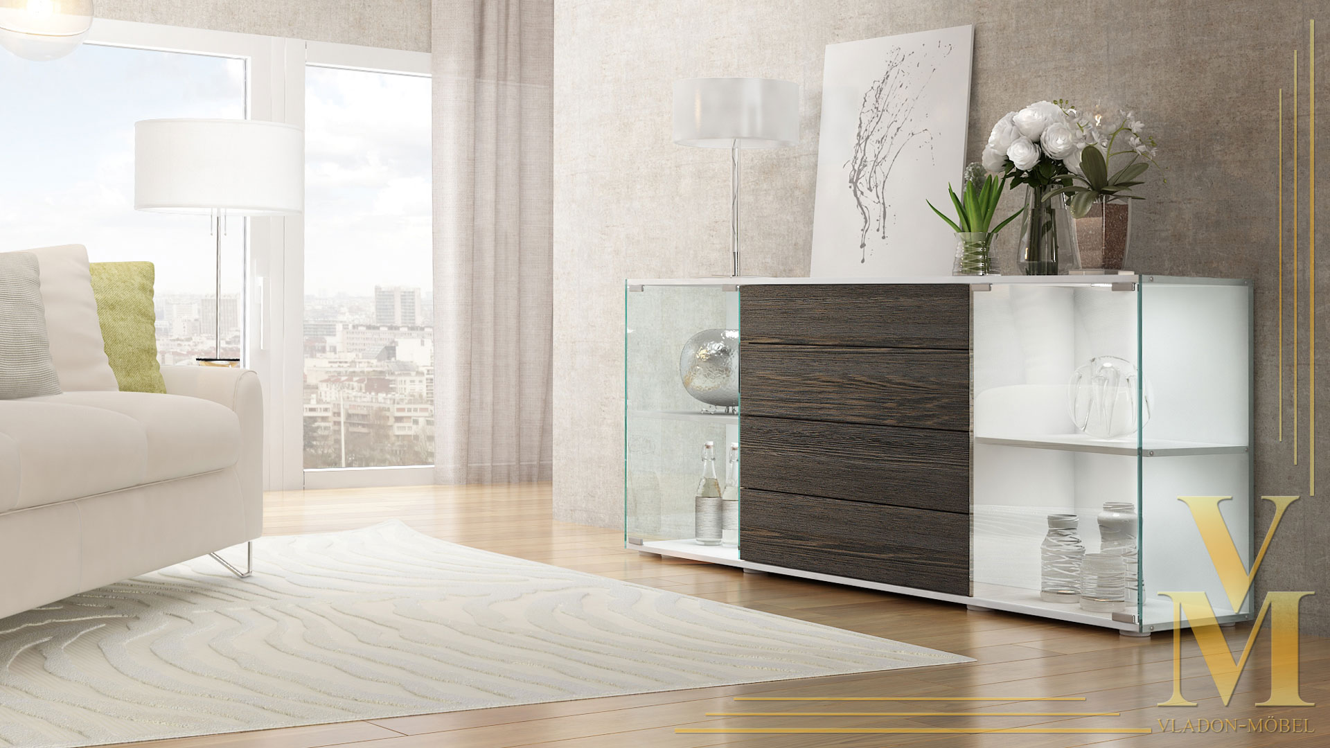 sideboard kommode tv board vitrine anrichte f hr v2 wei. Black Bedroom Furniture Sets. Home Design Ideas