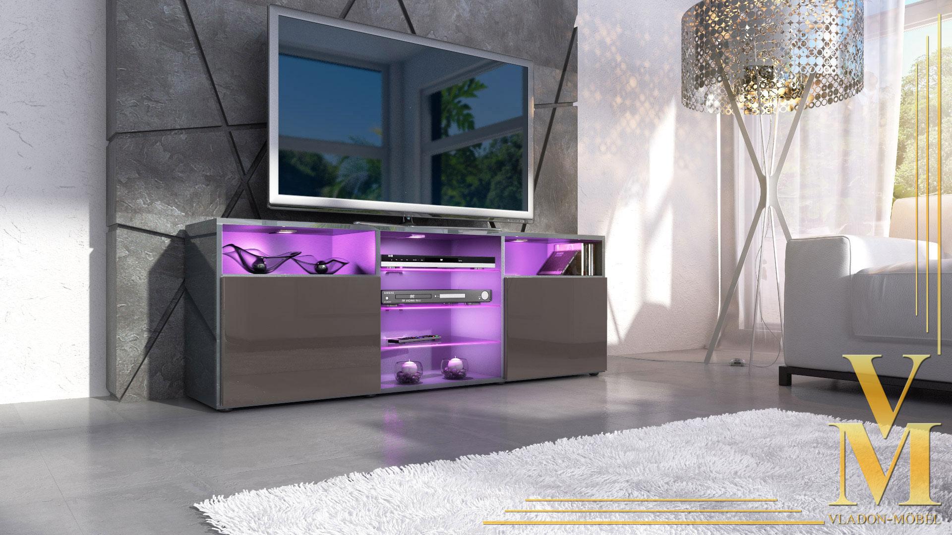 lowboard h ngend hochglanz grau. Black Bedroom Furniture Sets. Home Design Ideas