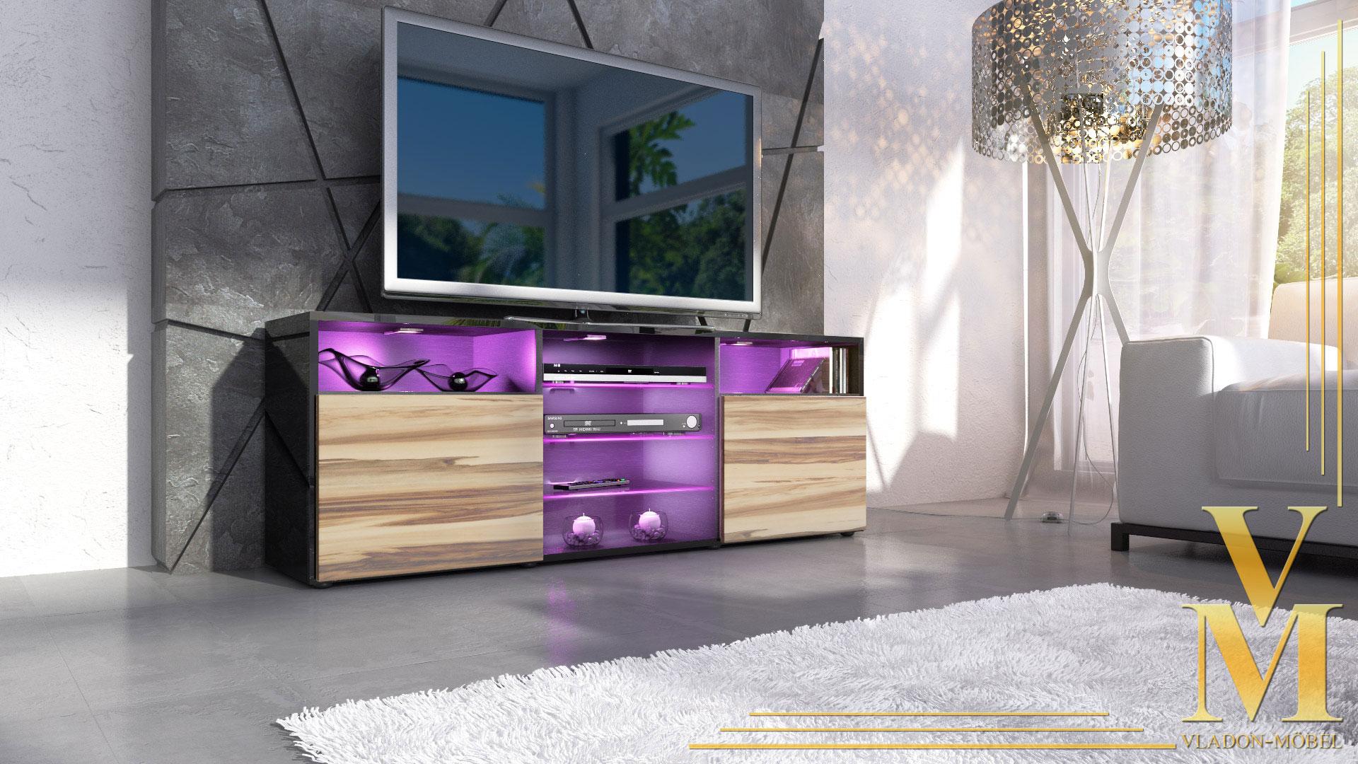 sideboard tv board tisch rack granada schwarz hochglanz amp naturtoene. Black Bedroom Furniture Sets. Home Design Ideas