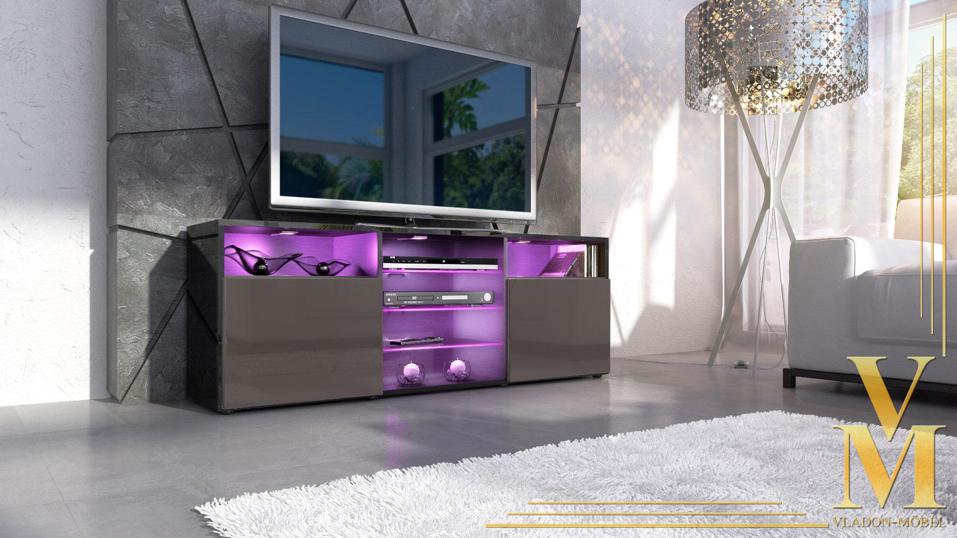 tv stand board unit lowboard cabinet granada black high. Black Bedroom Furniture Sets. Home Design Ideas