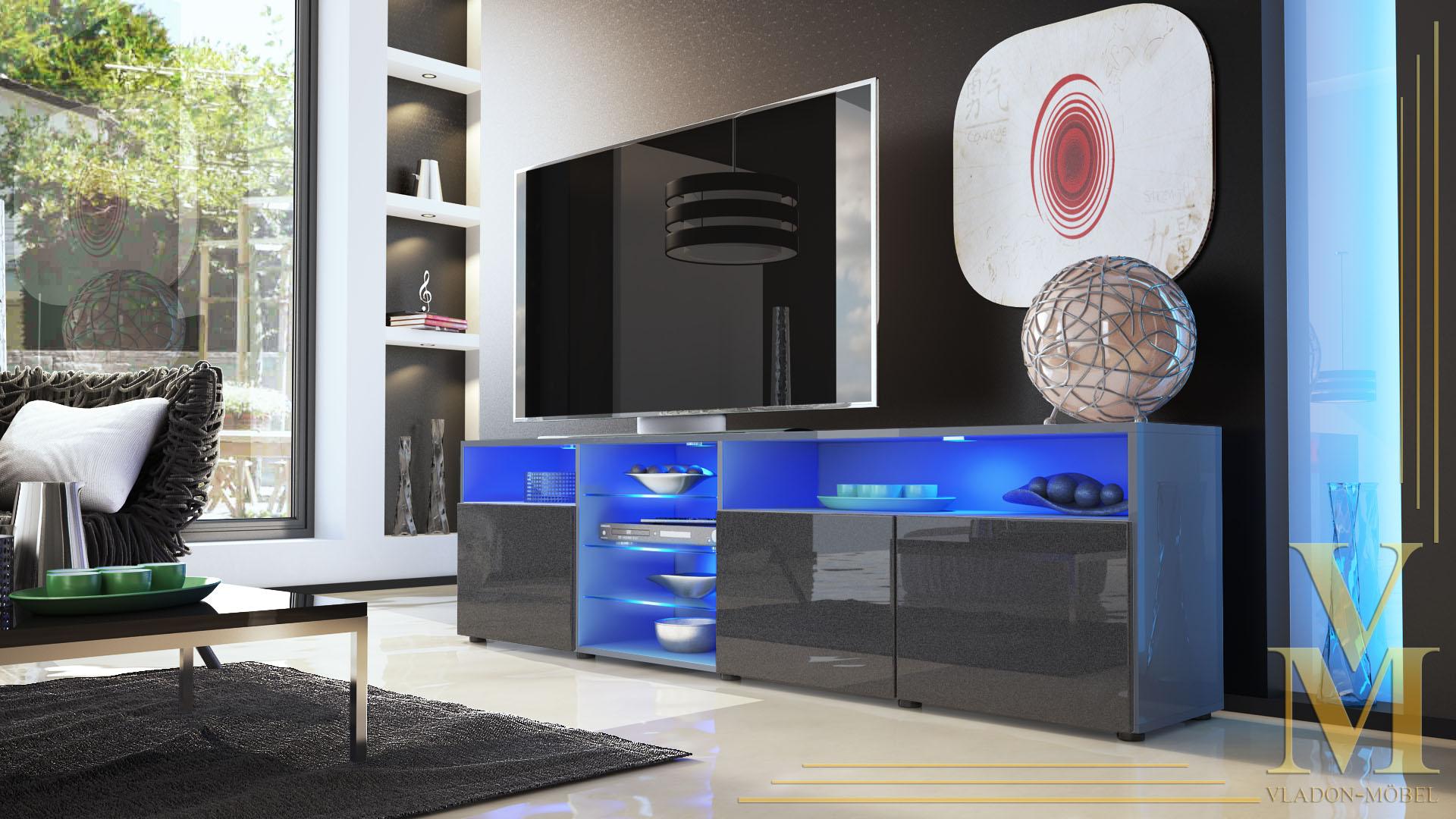 lowboard sideboard tv board tisch rack granada v2 grau. Black Bedroom Furniture Sets. Home Design Ideas