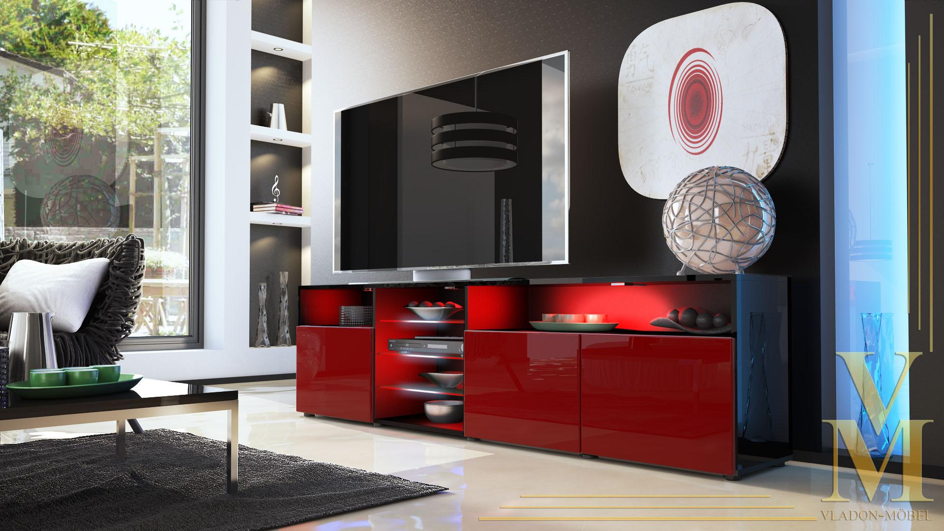 lowboard sideboard tv board tisch rack granada v2 schwarz. Black Bedroom Furniture Sets. Home Design Ideas