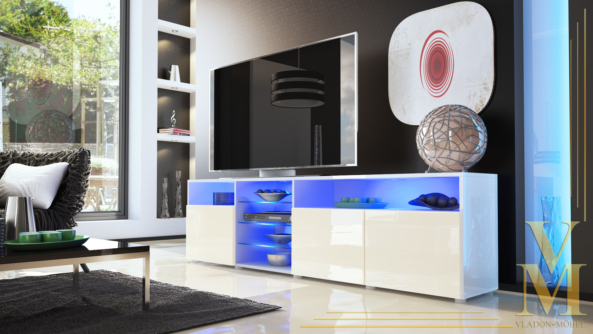 Tv Board Sideboard Lowboard Granada V2 In White Cream Highgloss  # Vladon Meuble Tv