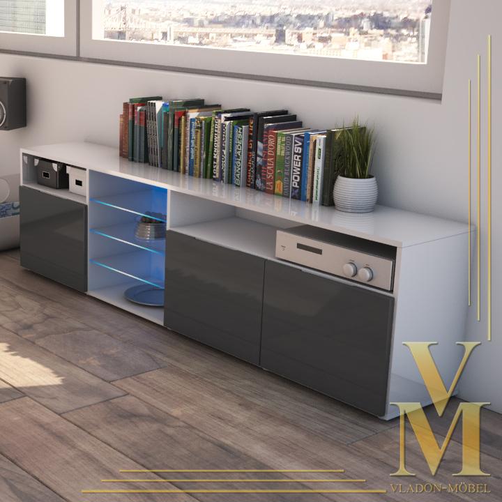 tv board sideboard lowboard granada v2 in white grey. Black Bedroom Furniture Sets. Home Design Ideas
