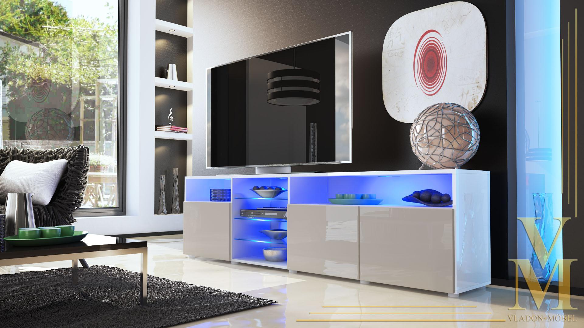 lowboard sideboard tv board tisch rack granada v2 wei. Black Bedroom Furniture Sets. Home Design Ideas