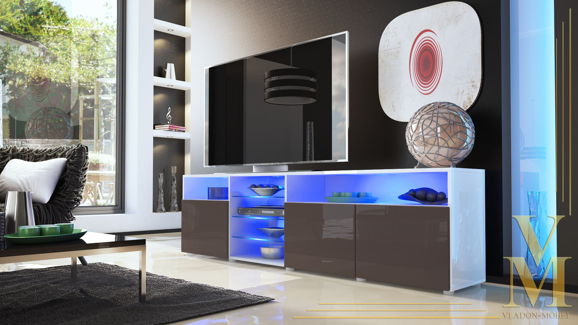 lowboard sideboard tv board tisch rack granada v2 wei hochglanz naturt ne ebay. Black Bedroom Furniture Sets. Home Design Ideas