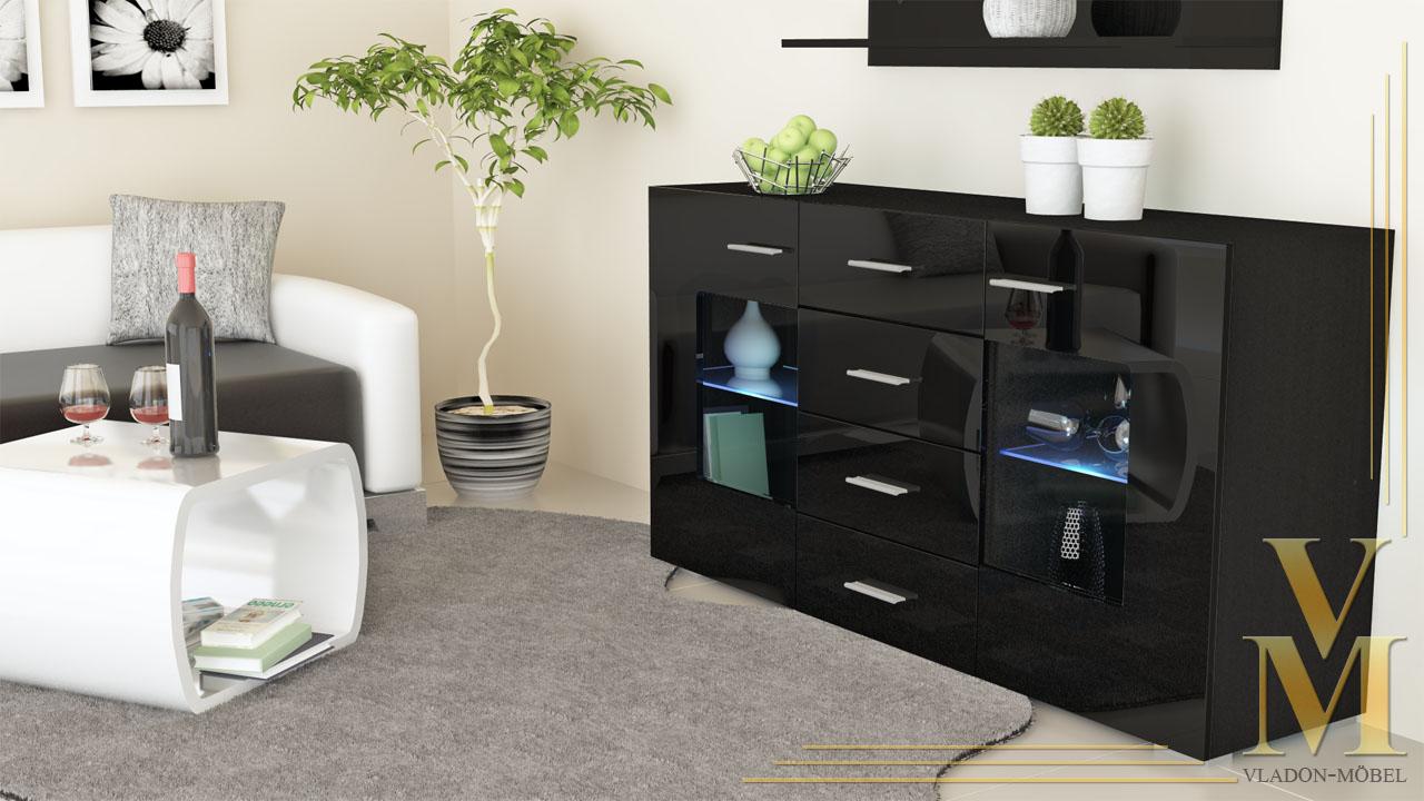 sideboard tv board anrichte kommode gr mitz in schwarz schwarz hochglanz ebay. Black Bedroom Furniture Sets. Home Design Ideas