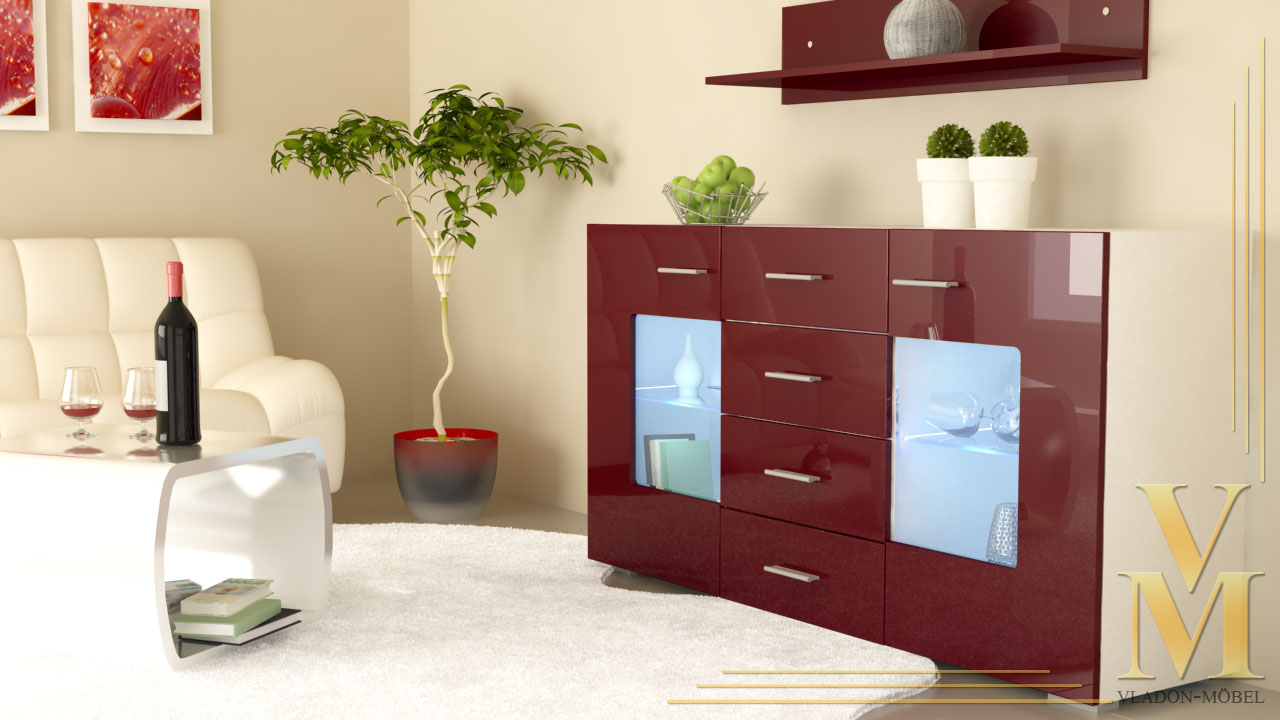 sideboard tv board anrichte kommode gr mitz in wei bordeaux hochglanz ebay. Black Bedroom Furniture Sets. Home Design Ideas