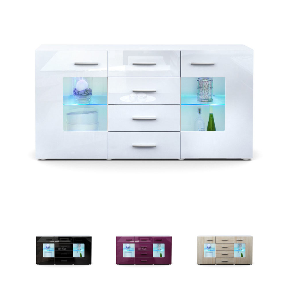 sideboard chest of drawers cabinet gr mitz white high. Black Bedroom Furniture Sets. Home Design Ideas