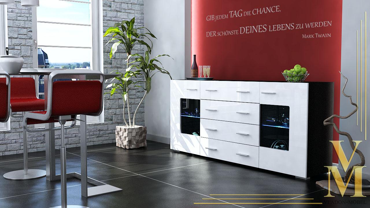 sideboard tv board anrichte gr mitz v2 in schwarz wei. Black Bedroom Furniture Sets. Home Design Ideas