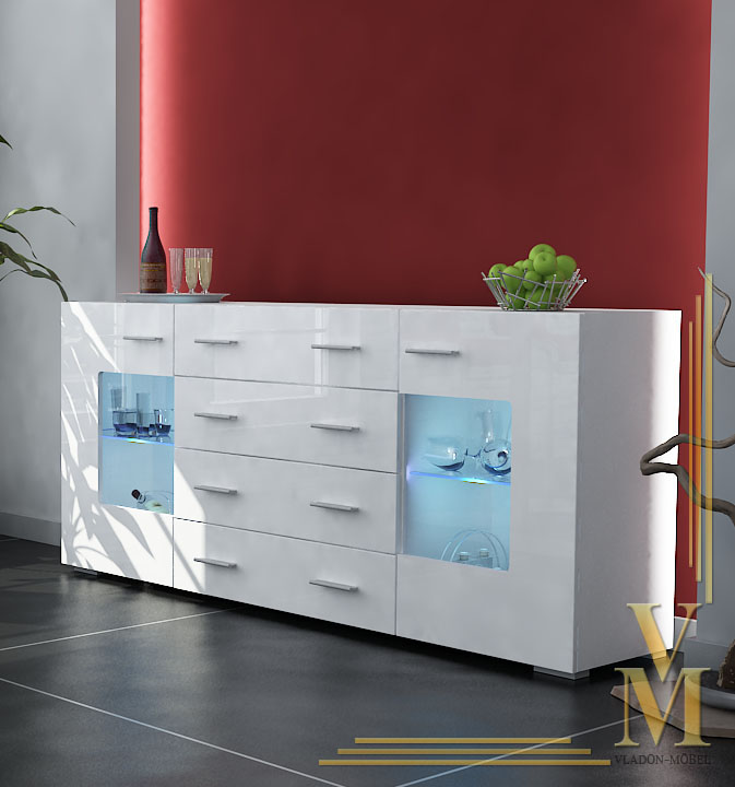 anrichte sideboard gr mitz v2 hochglanz wei wei ebay. Black Bedroom Furniture Sets. Home Design Ideas