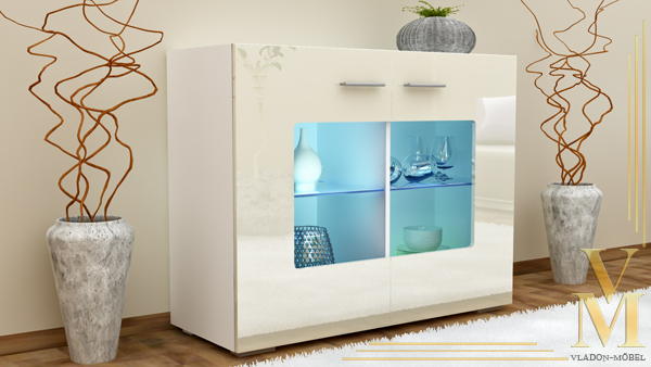 sideboard kommode anrichte gr mitz v3 in wei creme hochglanz ebay. Black Bedroom Furniture Sets. Home Design Ideas