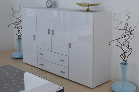 anrichte sideboard highboard nora hochglanz weiss weiss ebay. Black Bedroom Furniture Sets. Home Design Ideas