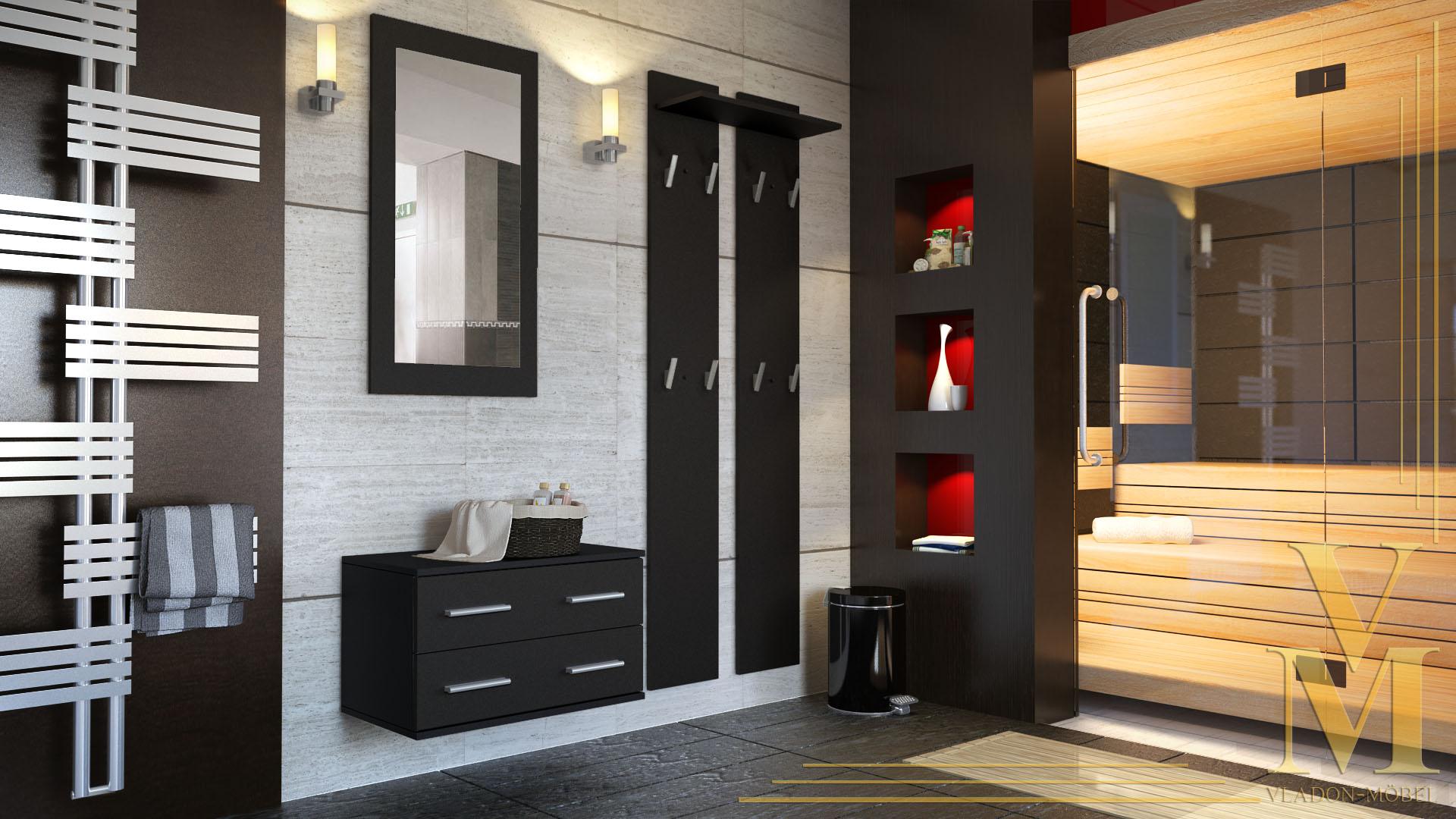 garderobenset flur garderobe diele kioto in schwarz. Black Bedroom Furniture Sets. Home Design Ideas