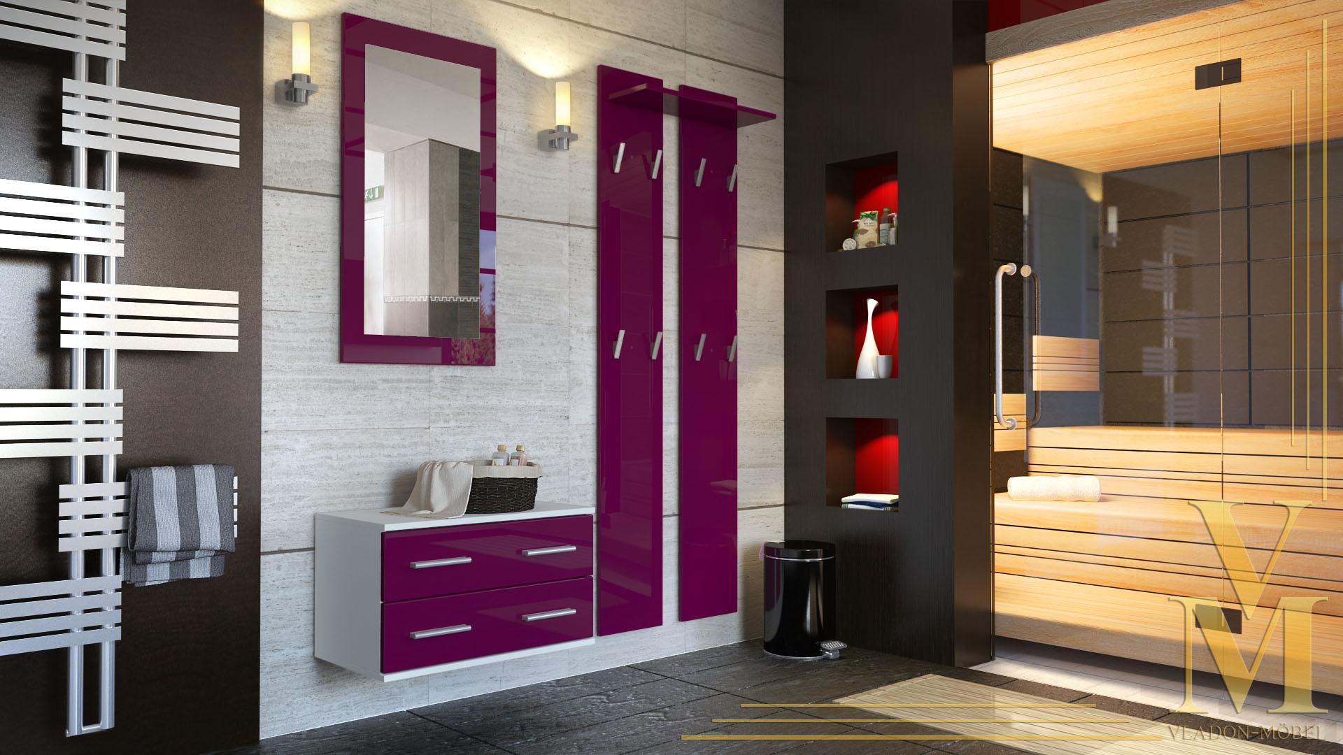 garderobenset flur garderobe diele kioto in wei hochglanz naturt ne ebay. Black Bedroom Furniture Sets. Home Design Ideas