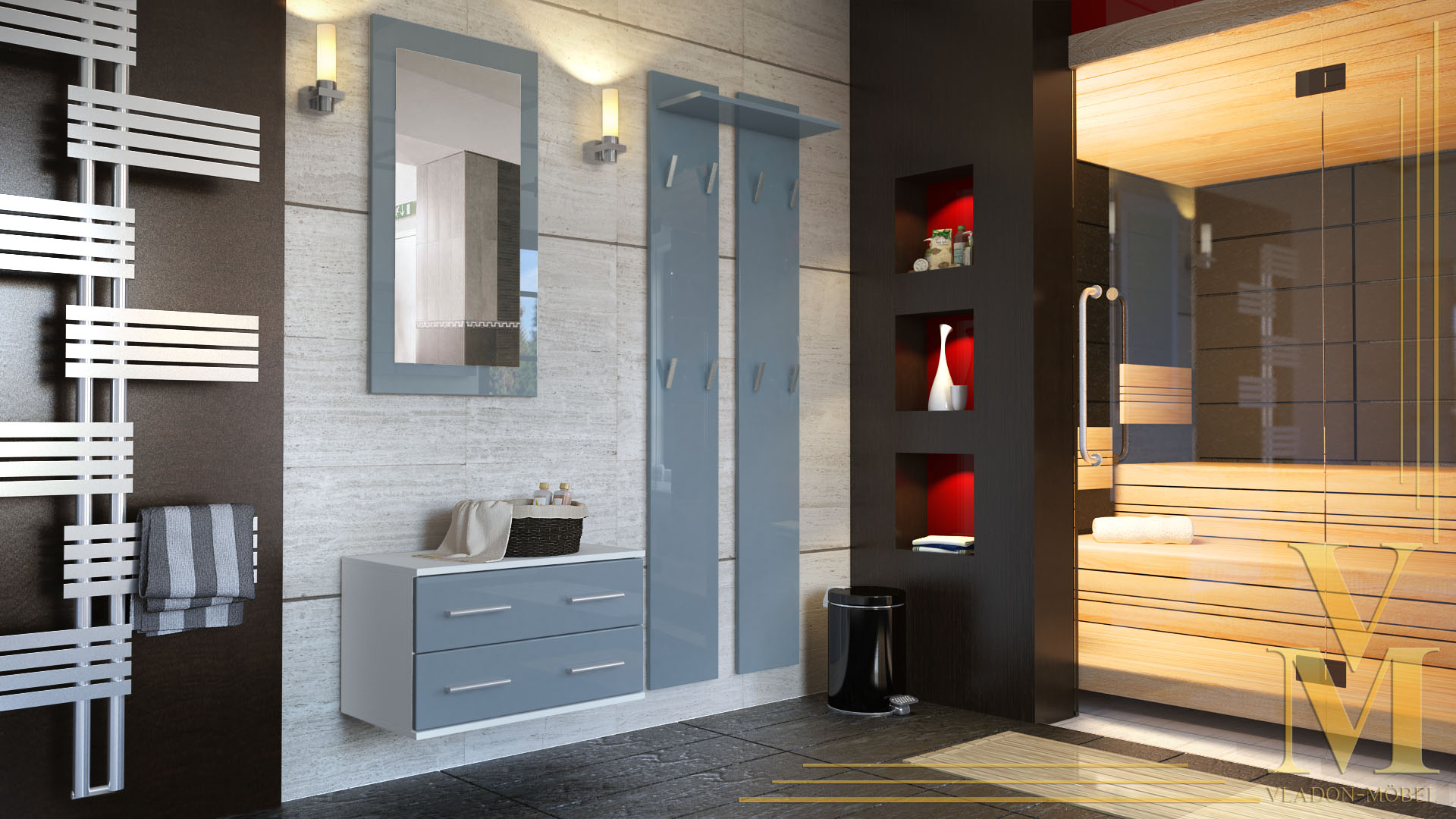 garderobenset garderobe kioto mit spiegel in wei grau. Black Bedroom Furniture Sets. Home Design Ideas