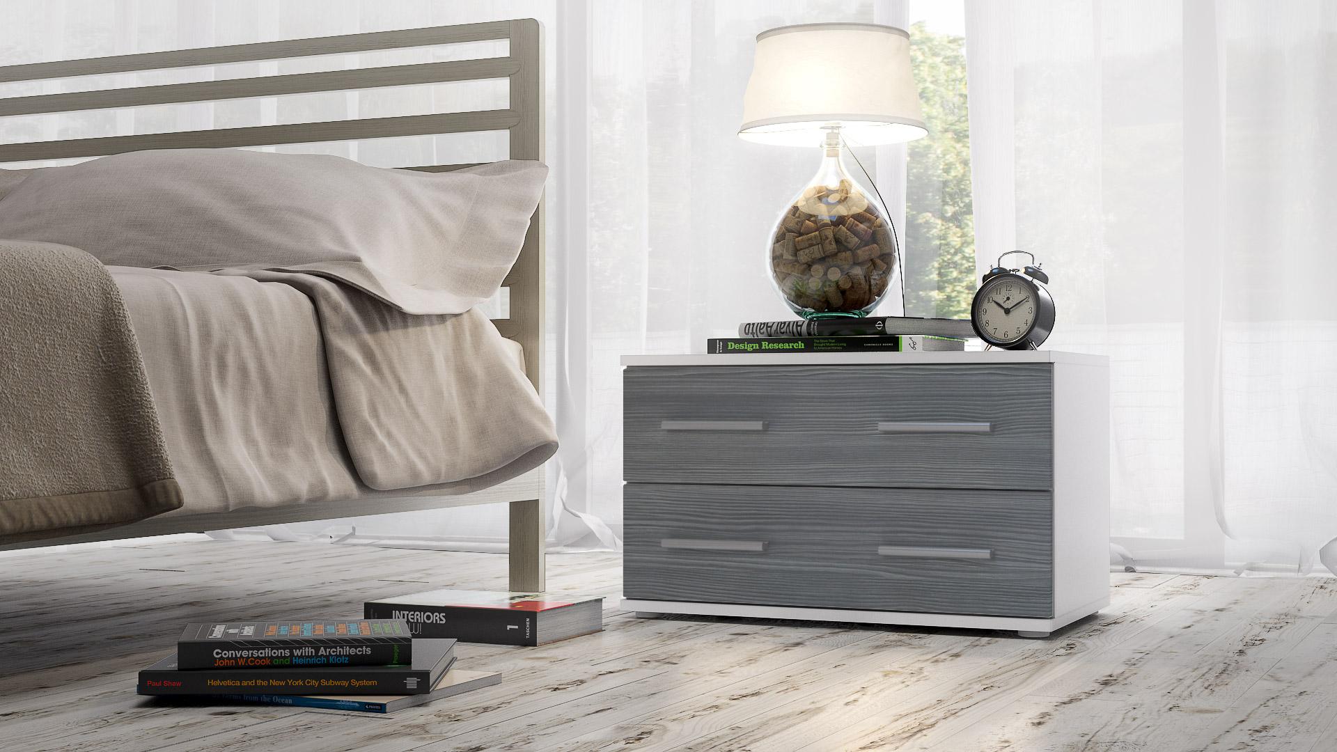 nachtkonsole nacht tisch kommode schrank kioto in wei hochglanz naturt ne ebay. Black Bedroom Furniture Sets. Home Design Ideas