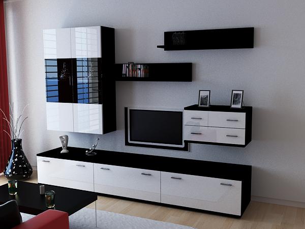 wohnwand anbauwand kioto schwarz wei hochglanz ebay. Black Bedroom Furniture Sets. Home Design Ideas