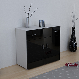 anrichte sideboard kommode logos weiss schwarz hochgl ebay. Black Bedroom Furniture Sets. Home Design Ideas