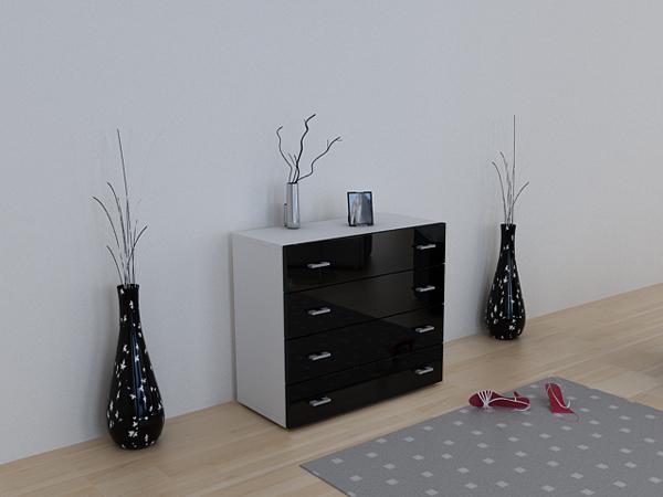 kommode sideboard anrichte pavos weiss schwarz hochgl ebay. Black Bedroom Furniture Sets. Home Design Ideas