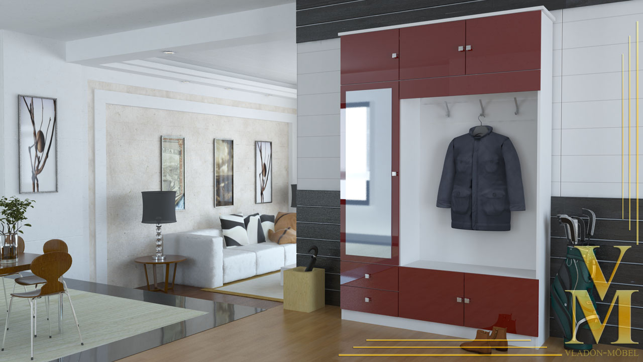kompaktgarderobe garderobe flurschrank in wei bordeaux hochglanz ebay. Black Bedroom Furniture Sets. Home Design Ideas