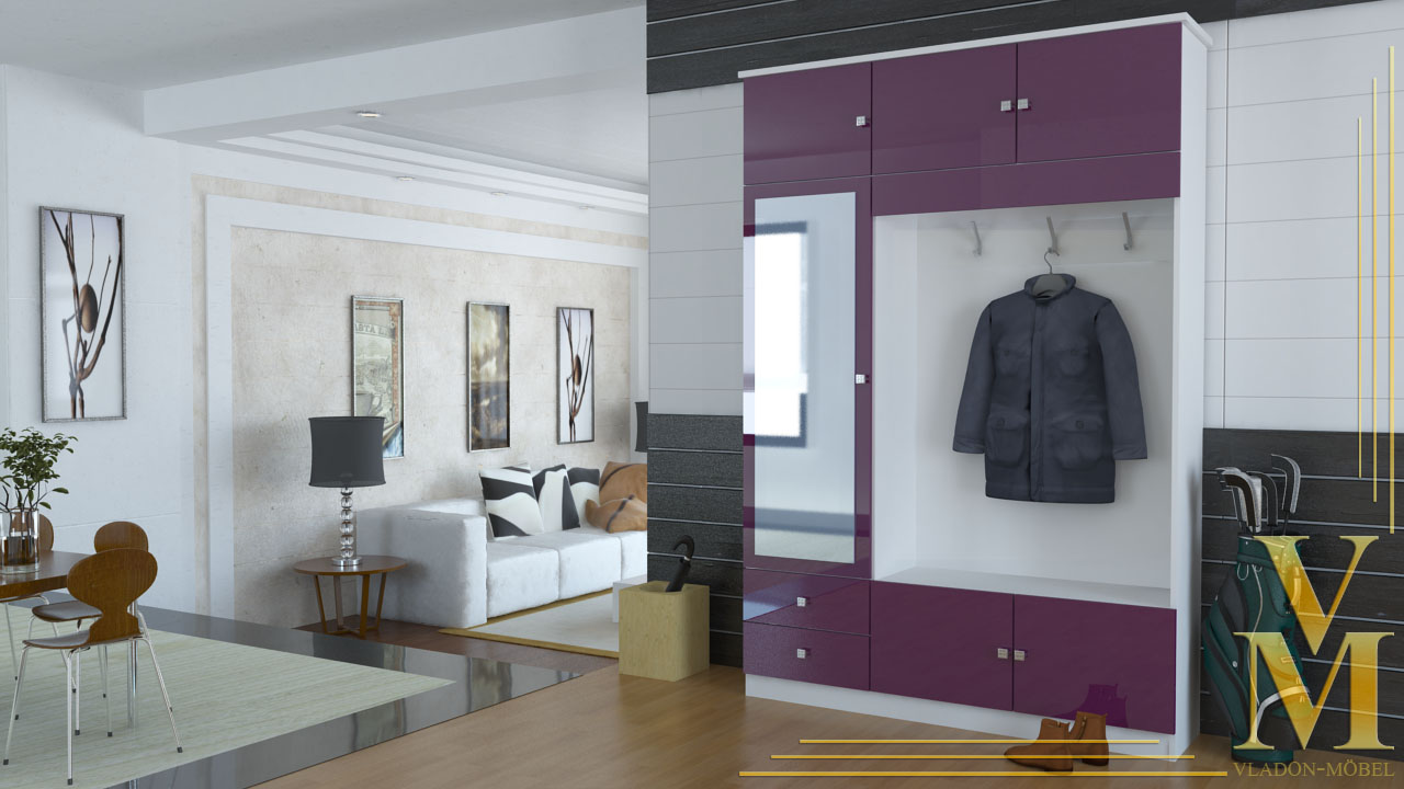 kompaktgarderobe garderobe flurschrank in wei brombeer hochglanz ebay. Black Bedroom Furniture Sets. Home Design Ideas